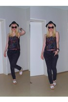 H&M jeans - H&M hat - round H&M sunglasses - lace H&M top