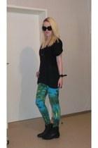 black H&M shirt - black Deichmann boots - Versace for H&M leggings