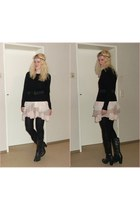 black studded c&a boots - light pink worn as skirt H&M dress
