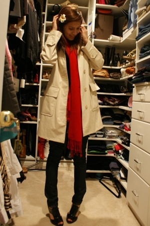 Burberry coat - scarf - H&M pants - top - Marc Fisher shoes
