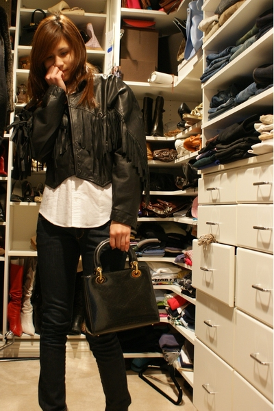 vintage jacket - dior purse - Ralp Lauren button up shirt - H&M jeans - Guess sh
