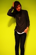 UO top - shirt - Mango necklace - H&M jeans - moms boots