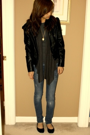 shirt - sweater - forever 21 jacket - jeans - moms flats - Marc by Marc Jacobs p