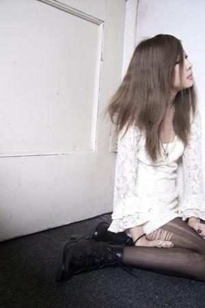 white vintage dress - black H&M boots