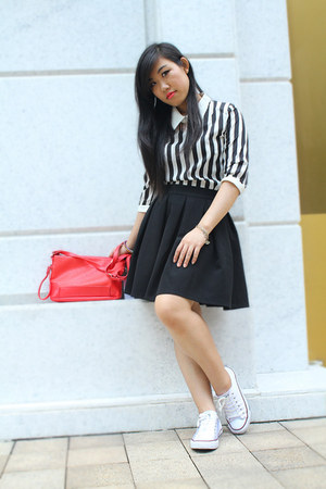 red Zara bag - white Mon Cherri dress - black OVERSIZE skirt