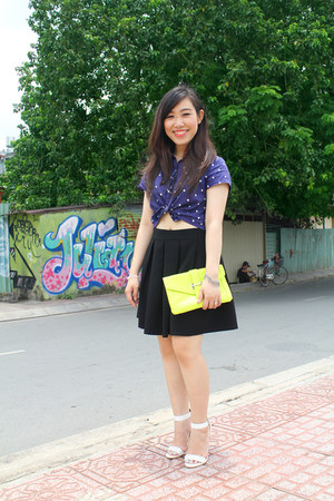 black custom made skirt - chartreuse Aldo bag - navy cotton Marc fashion top