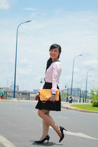 black skirt - orange bag - black heels - light pink blouse