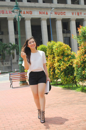 black Zara shorts - white Zara blouse - black Zara heels