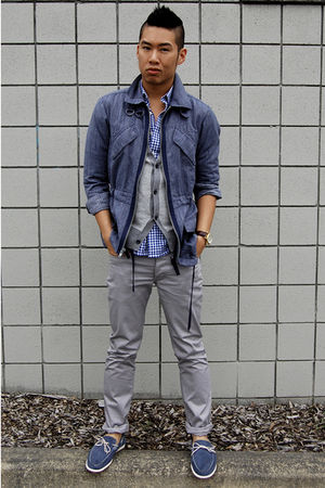 blue Marc by Marc Jacobs jacket - gray H&amp;M pants - blue Tommy Hilfiger shoes - g