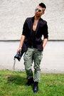 Black-filippa-k-blazer-green-ra-re-pants-black-balenciaga-purse-black-zara