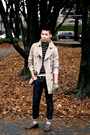 Beige-h-m-jacket-black-club-monaco-sweater-gray-moschino-jeans-green-ak-co
