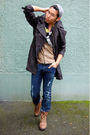 Black-burberry-coat-blue-diesel-jeans-brown-fluevog-boots-black-diesel-sca