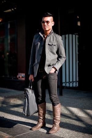 H&M blazer - Armani Jeans shirt - Moschino jeans - Aldo boots - Gap belt - Prada