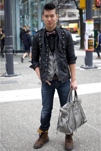 black Zara jacket - gray balenciaga purse - brown Dr Martens boots - blue Ra-Re