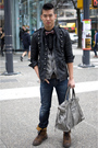 Black-zara-jacket-gray-balenciaga-purse-brown-dr-martens-boots-blue-ra-re-