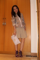 purple shoes - beige paul & joe shirt - beige shorts