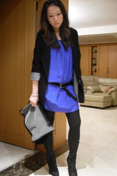 blazer - dress - boots - purse