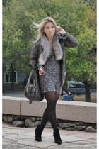 black Nine West boots - gray Bershka jacket