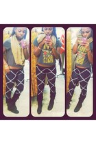 Forever 21 shirt - combat boots Love Culture boots - printed Forever 21 leggings