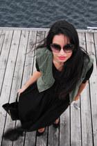 black sheer maxi Zara skirt - black double zip romwe bag