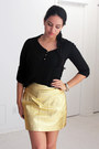 Gold-leather-zara-skirt-black-ankle-zara-boots-black-romwe-shirt