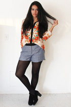 carrot orange romwe shirt - black suede Zara boots - sky blue tweed H&M shorts