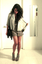 black fringed H&M purse - brown leopard print H&M romper - heather gray Jeffrey