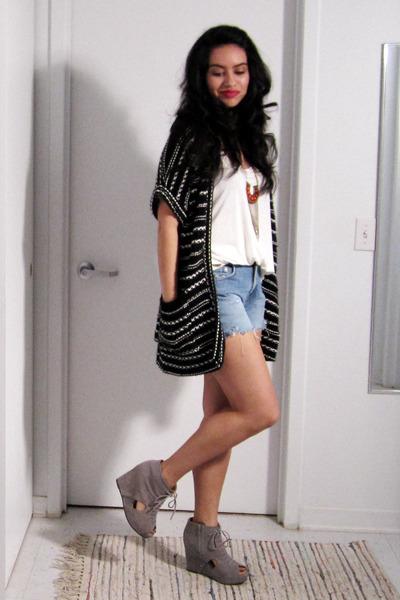 sky blue denim cut off DIY shorts - white Forever 21 top - black white stripes U