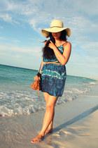 blue Forever 21 dress - tan Zara bag