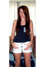 Navy-mens-vest-black-studded-boots-white-denim-shorts