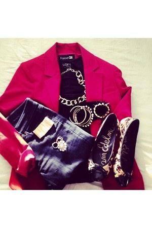 ruby red red blazer Forever 21 blazer - navy modern skinny Loft jeans