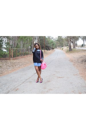 hot pink Target bag - hot pink shoes - blue dress - black H&M blouse