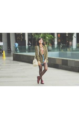 blazer - boots - Gaudi bag - blouse