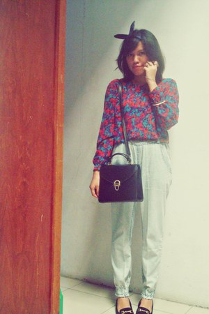 thrifted vintage bag - thrifted vintage loafers - Bloom local store pants - Loca