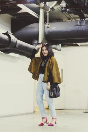 vintage jeans - Lasenora shoes - Uniqlo shirt - Newlook bag