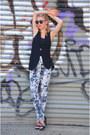 Black-long-urban-outfitters-vest-silver-floral-topshop-pants