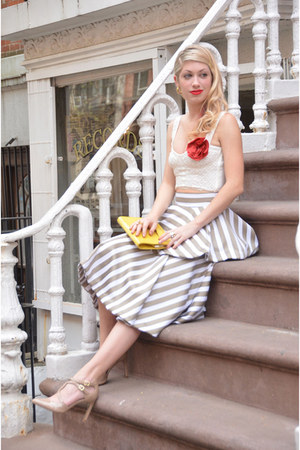 beige striped DIY skirt - yellow clutch unknown brand bag