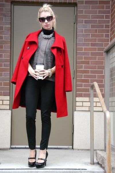 black turtleneck Gap shirt - puce cropped asos jacket - ruby red Old Navy jacket