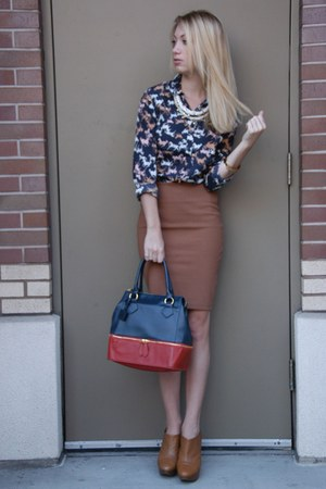 camel Zara skirt - camel Zara boots - navy H&M shirt - navy color block asos bag