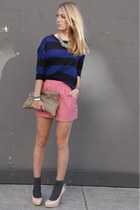 pink Forever 21 shorts - navy striped Forever 21 sweater