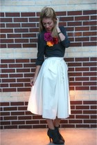 ankle H&M boots - v-neck Gap sweater - midi H&M skirt - flower brooches handmade