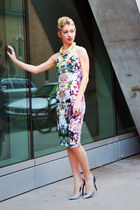 floral print Zara dress - metallic Zara heels - pearl homemade necklace