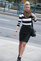 black Zara heels - white stripe H&M shirt - brown leopard H&M scarf