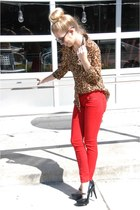 red Old Navy jeans - brown leopard Old Navy top - black random brand heels
