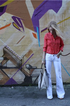 white Zara jeans - salmon silk H&M shirt - silver Gap bag - peach seychelles hee