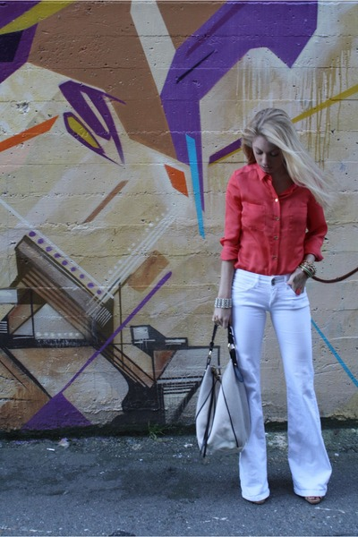 white Zara jeans - salmon silk H&amp;M shirt - silver Gap bag - peach seychelles hee
