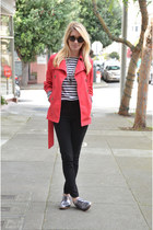 red trench Gap coat - heather gray oxfords H&M shoes - white striped H&M shirt