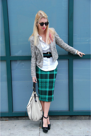dark green tartan plaid asos skirt - heather gray tweed Zara blazer