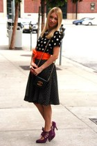 black polka dot H&M dress - black vintage Chanel bag - carrot orange Zara belt