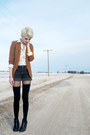 Black-h-m-boots-brown-h-m-blazer-black-denim-vintage-shorts